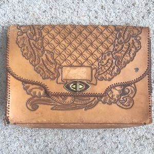 Handbags - Vintage leather clutch Mexican embroider bag purse
